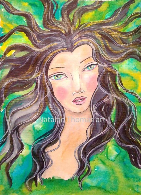 drawing and painting whimsical mermaid mixed media