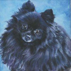 black pomeranian art print canvas print of la by thedoglover black pomeranian dog portraits