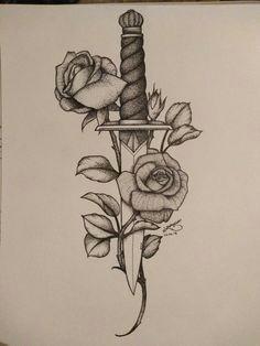 knife rose tattoo idea samoantattoos