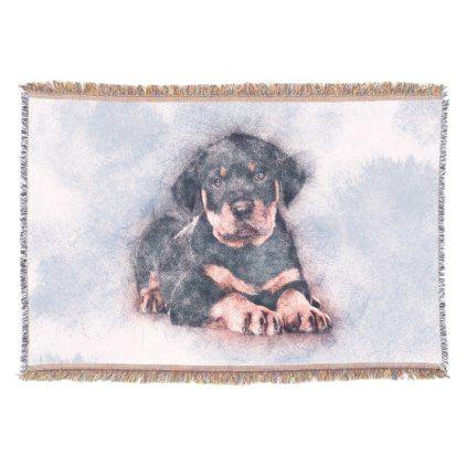 rottweiler puppy sketch paint throw blanket rottweiler puppy rottweilers dog dogs pet pets cute