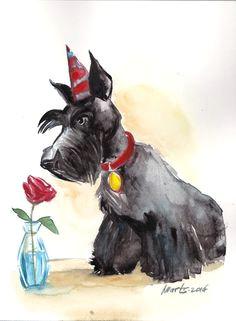 scottie and rose original watercolour painting d n groovyart