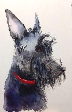 original watercolour scottish terrier scottie dog