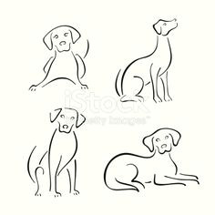 four stylized dogs on a white background