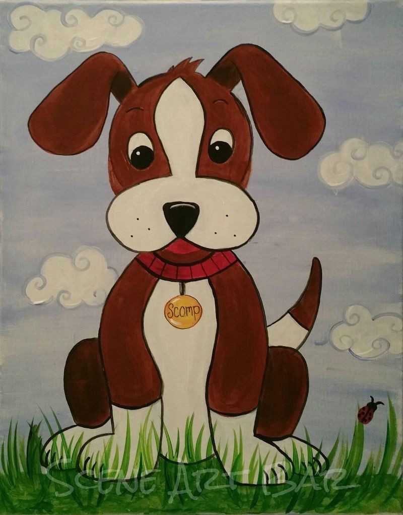 step by step puppy dog acrylic painting for children