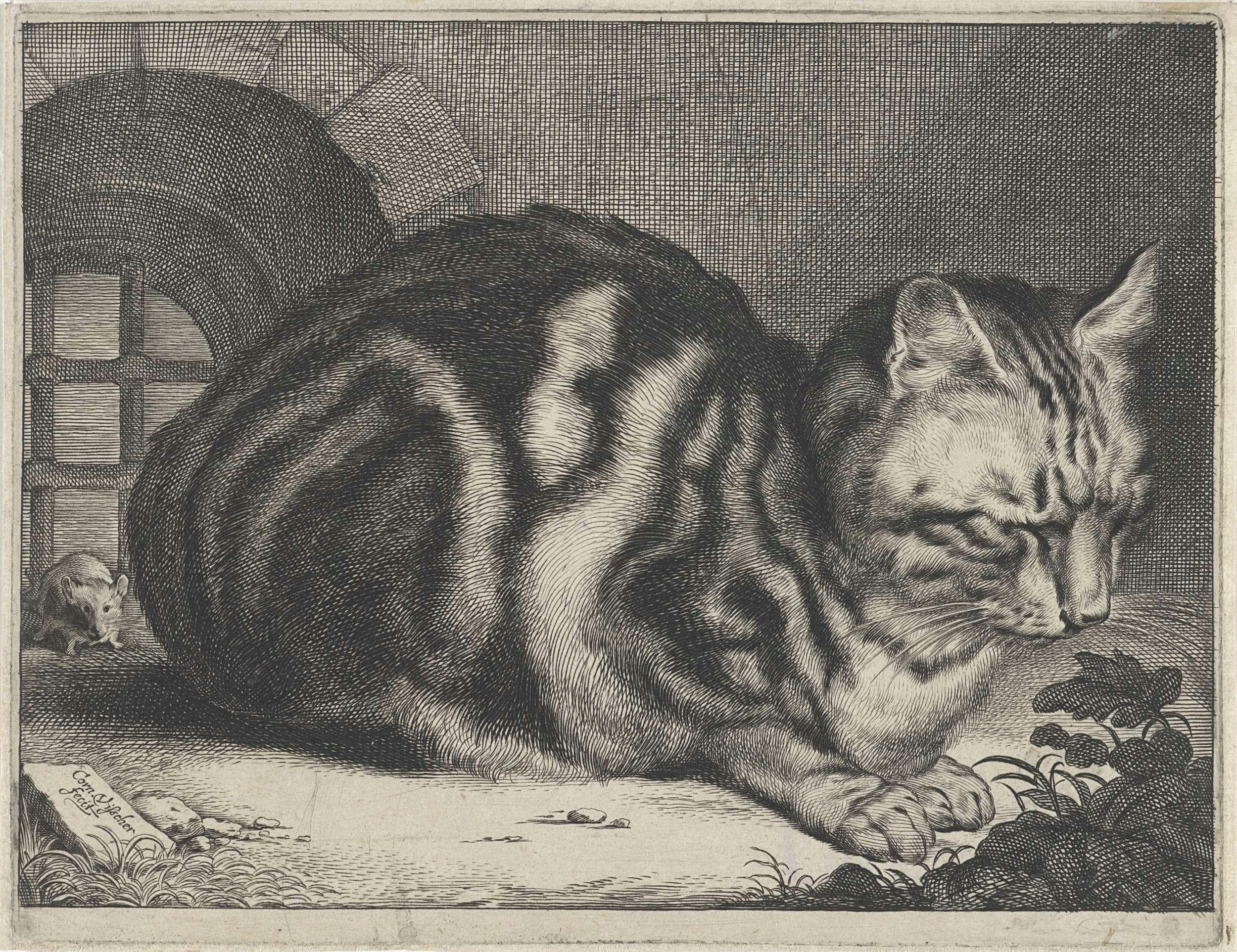 cornelis visscher ii the large cat cornelis visscher ii 1657 voor een raam met tralies zit een in elkaar gedoken kat achter de kat zit een muis