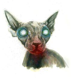 zombie sphynx cat 2 rough sketch