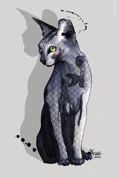 blue sphynx cat by sara ligari sphinx tattoo sphinx cat matou crazy cat