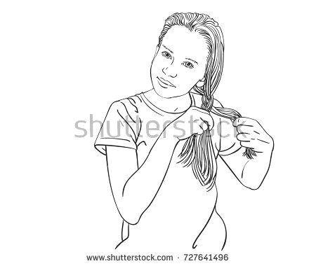 sketch of beautiful teenage girl braiding her long hair in braid hand drawn vector line