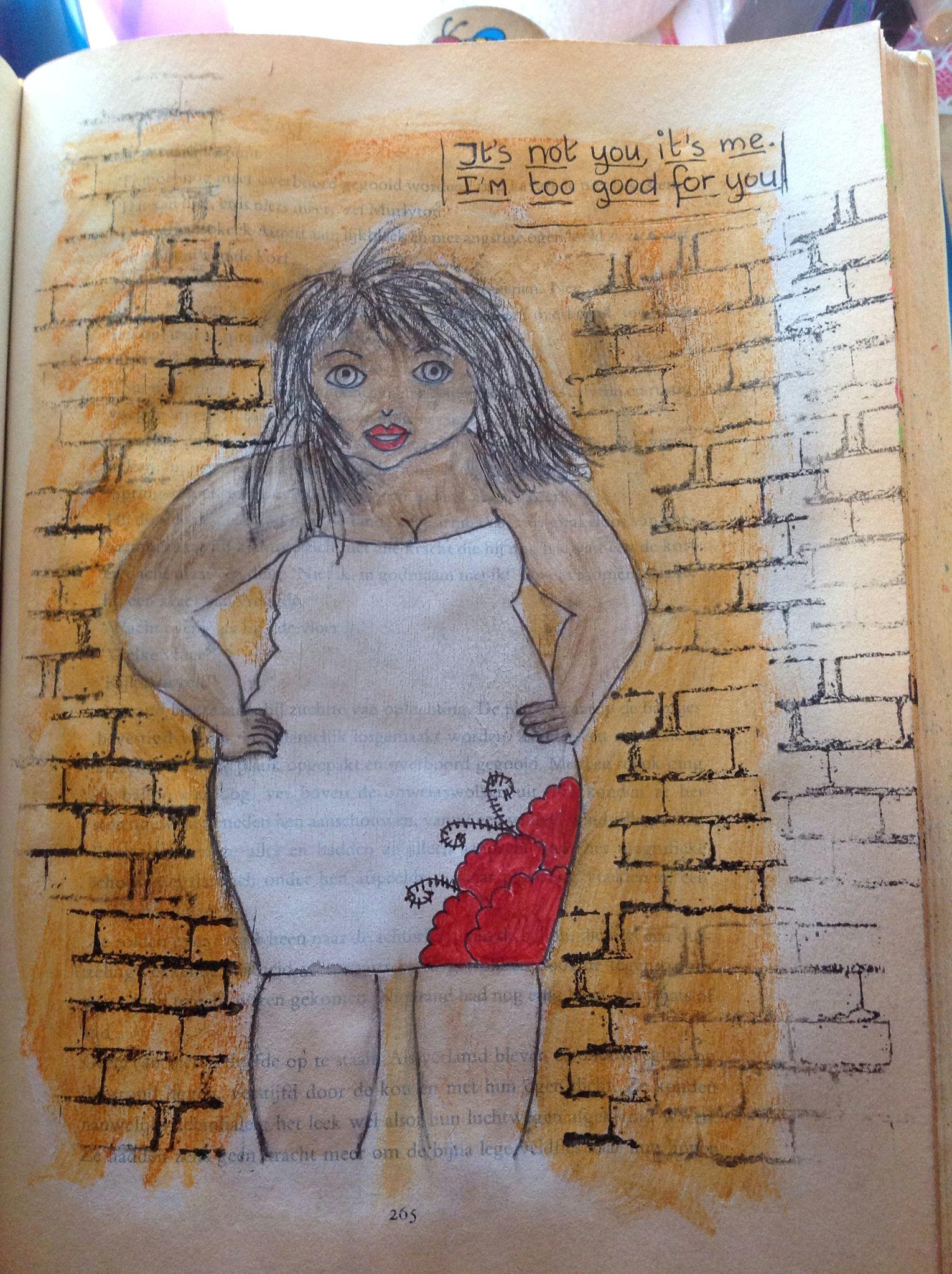 art journal big size woman fat drawing painting