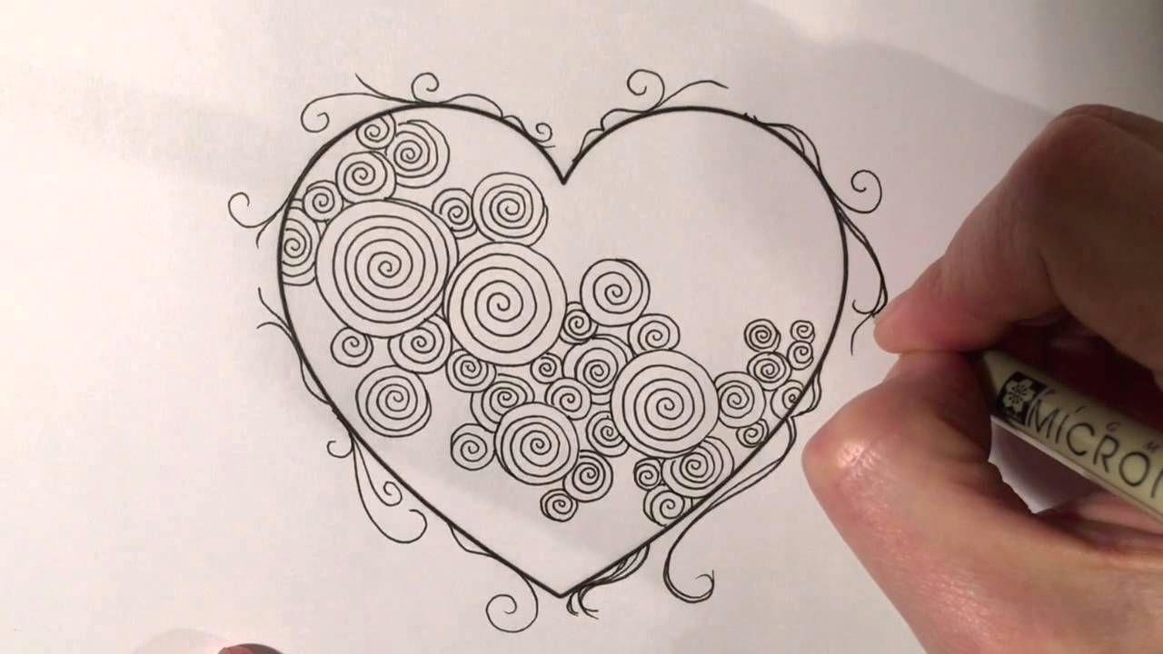 zentangle valentine s heart series 4 spirals with border