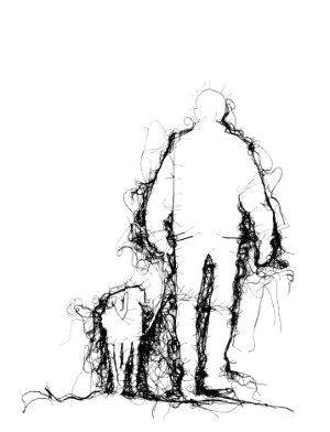 adrienne wood thread drawing man walking dog in black thread on white ground tekeningen