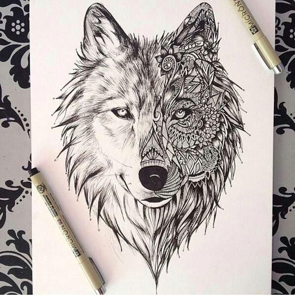 beautiful wolf drawing as a tattoo