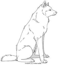 sitting wolf lineart by victoriadb deviantart com on deviantart