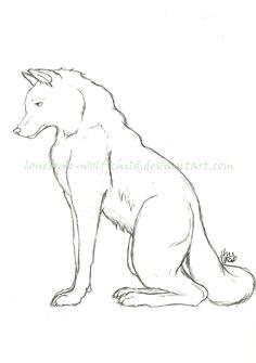 wolf sitting wolf children drop cap pencil drawings graphite clip art