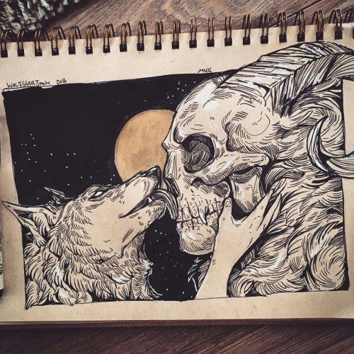 wolfskulljack wolf girl and skull boy something for the