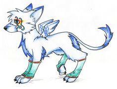 anime wolf w wings