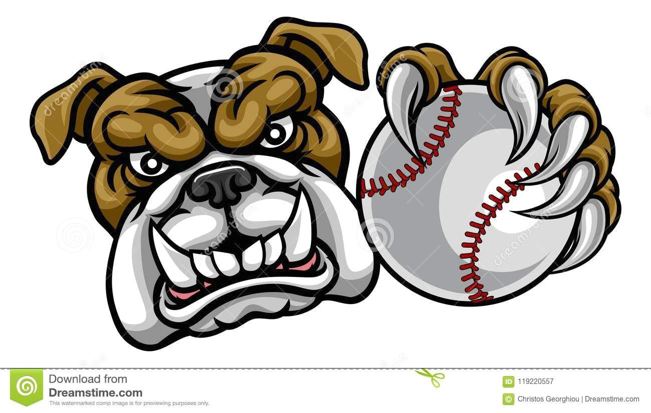 a bulldog angry animal sports mascot holding a baseball ball