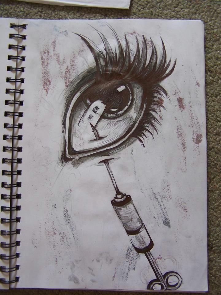 needle in eye drawing ballpoint pen horror