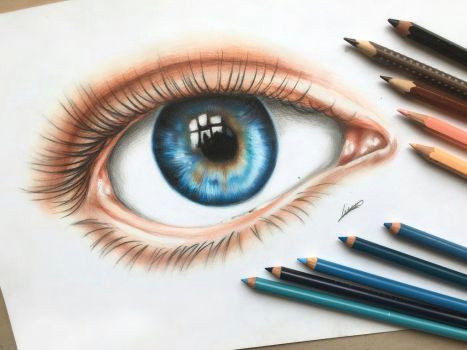an eye colored pencil drawing by polaara