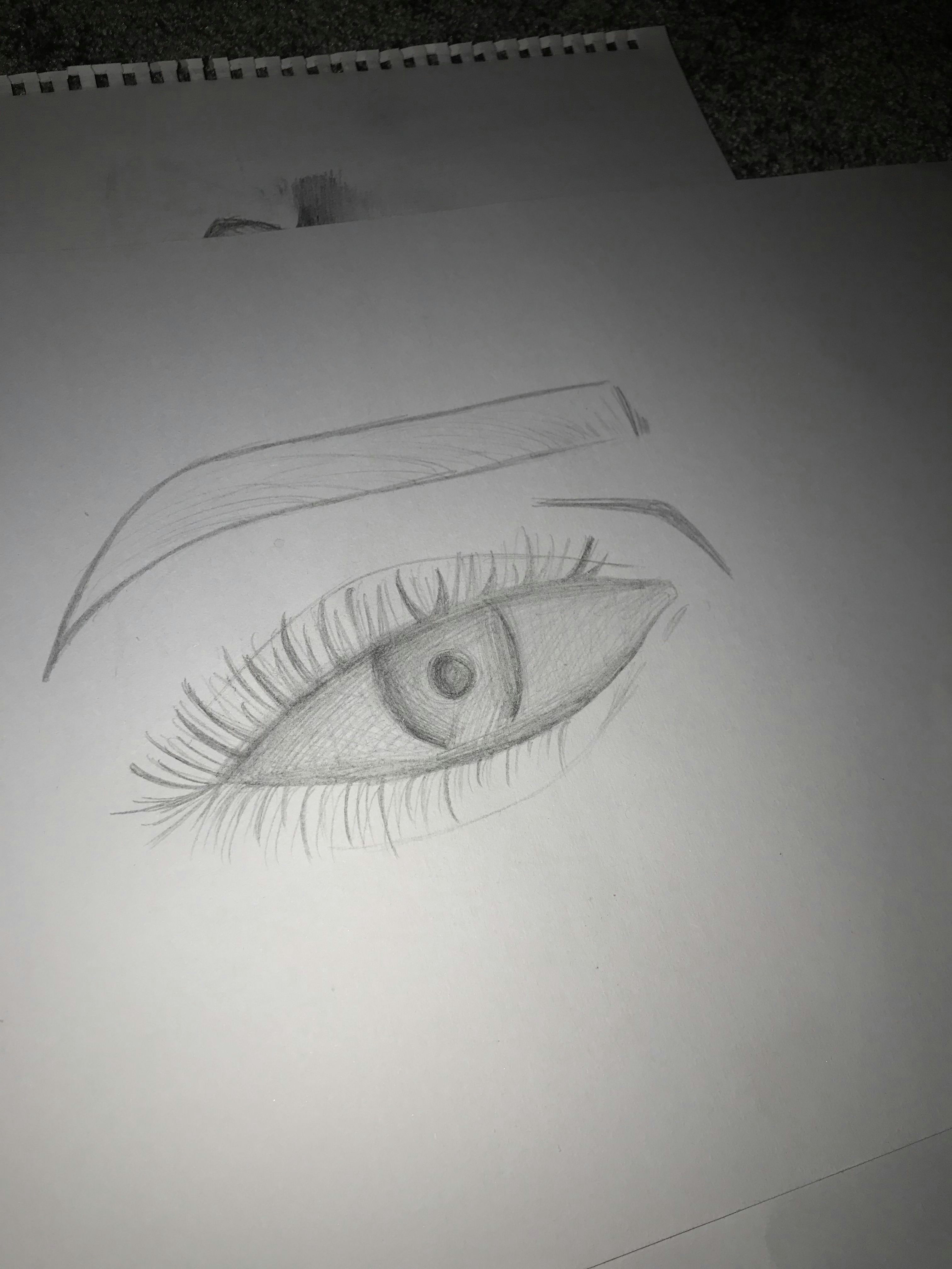eye eyebrow sketch by 14 yr old snr x
