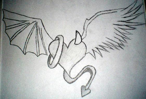 Drawing Of Angel Heart Angel Vs Devil Drawings Angel Vs Devil Heart by Kiley Nicole On