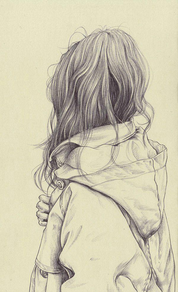 girl think dreams calm alone back black draw a