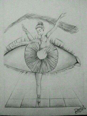 Drawing Of Ballerina In Eye Ballerina Im Auge Zeichnung Dinge Die In Einander Ubergehen