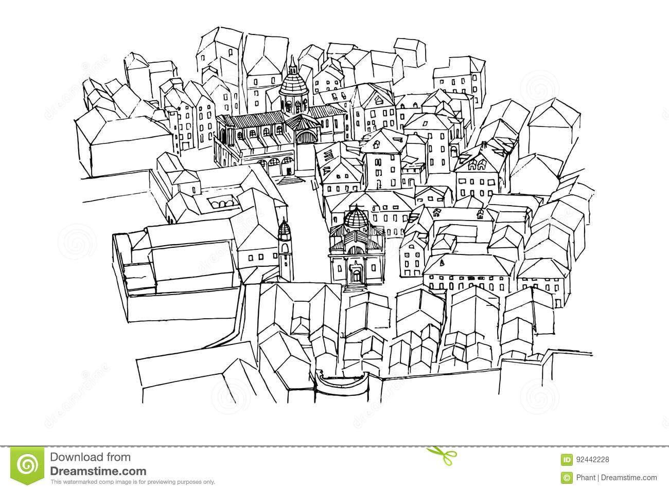 vector sketch of bird s eye view of old dubrovnik croatia