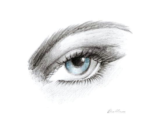 eye print blue eye art hand made pencil drawing printable art home
