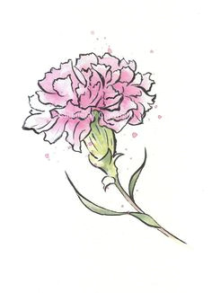 items similar to japanese japanese watercolor sumie watercolor painting flower art red carnation watercolor print giclee print flower interest on