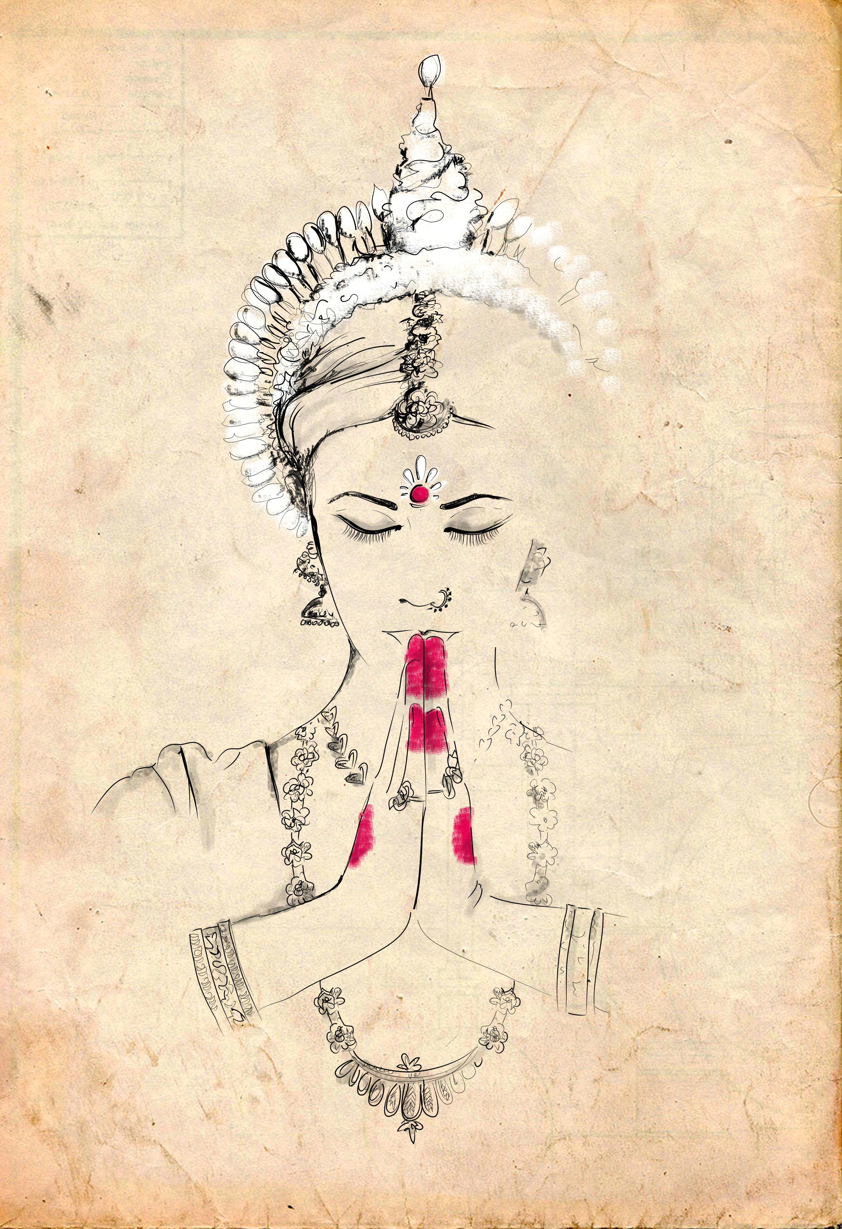 odissi illustration by gungur arts indian