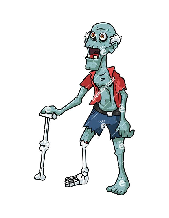 old man zombie royalty free stock vector illustration of a senior citizen zombie with a walking stick made of bones zombies zombie funny lol