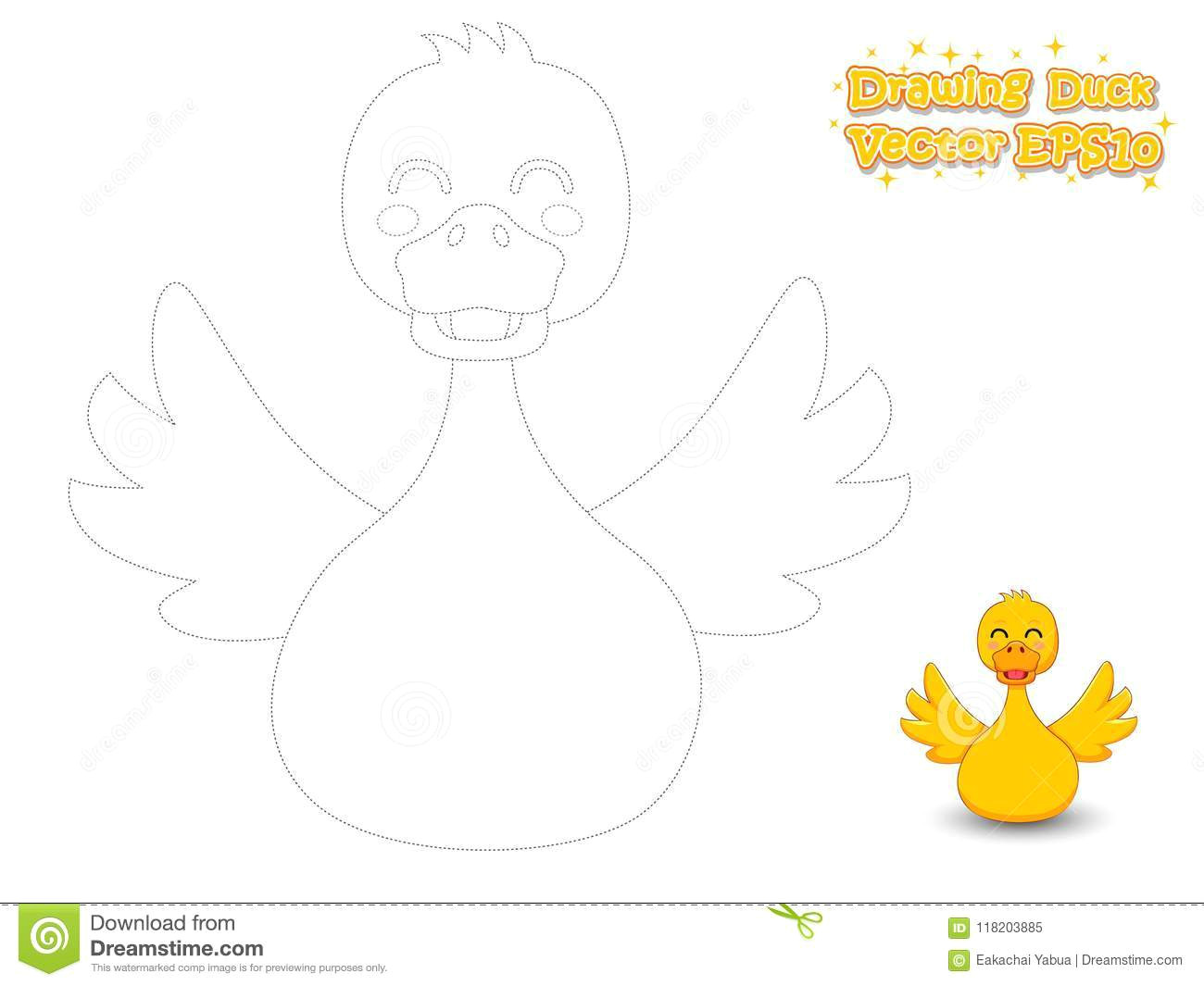 Drawing Of Cute Duck Drawing and Coloring Cute Cartoon Duck Educational Game for Kid