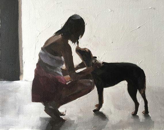 woman walking dog painting woman walking dog art print art print from original painting by j coates in 2019 painting painting dog paintings