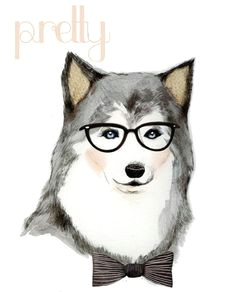 animal art print husky dog dog with glasses drawing bowtie