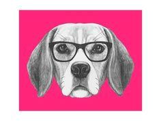 art print portrait of beagle dog with glasses hand drawn illustration by victoria novak