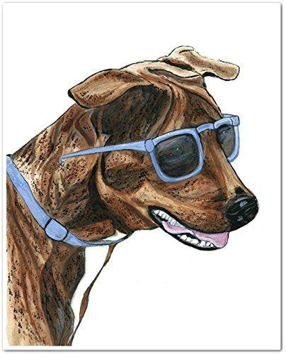 brindle dog in blue sunglasses watercolor art print unframed 8 x 10 brindle dog