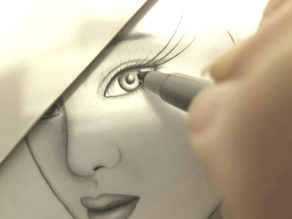 drawing work in progress portrait arts female eye detailing black and white pen art by sherrie thai of shaireproductions com