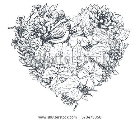 floral heart bouquet composition with hand drawn flowers plants and birds monochrome vector romantic love illustration in sketch style