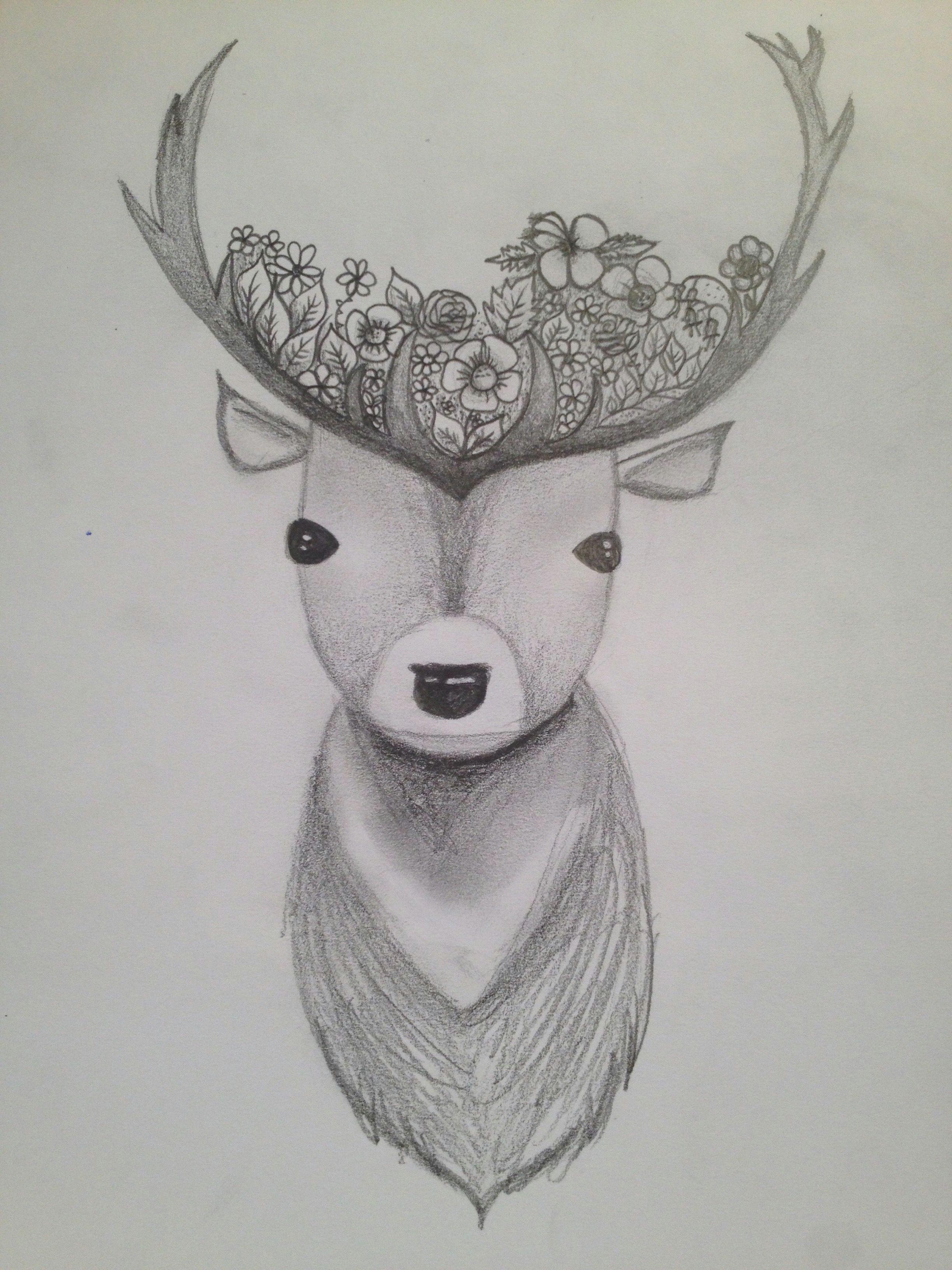 deer flower crown drawing