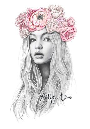 Drawing Of Flower Crown Gigi Hadid Flower Crown Fashion Illustration Portrait Colored