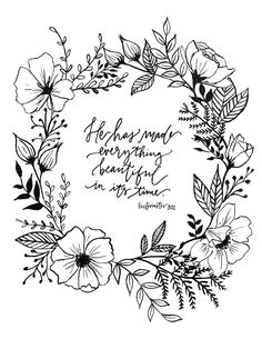 ecclesiastes 3 11 hand lettered floral art print