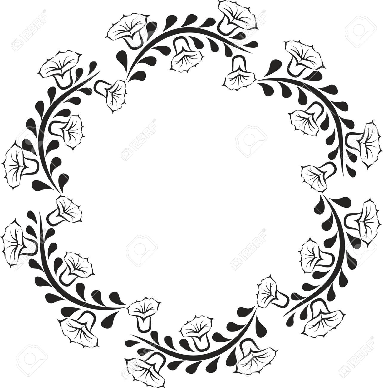 Drawing Of Flower Frame Silhouette Of Round Floral Frame Royalty Free Cliparts Vectors and