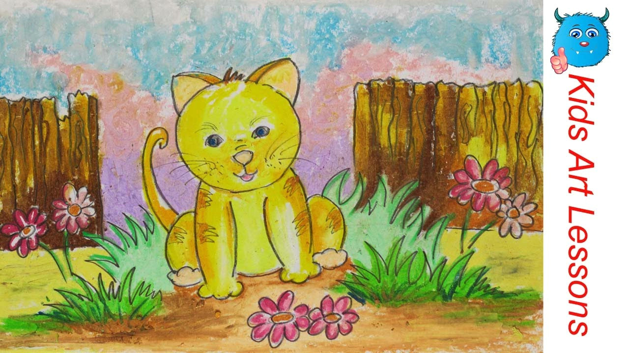 easy scenery drawing how to draw a cat in the garden step by step in oil pastel