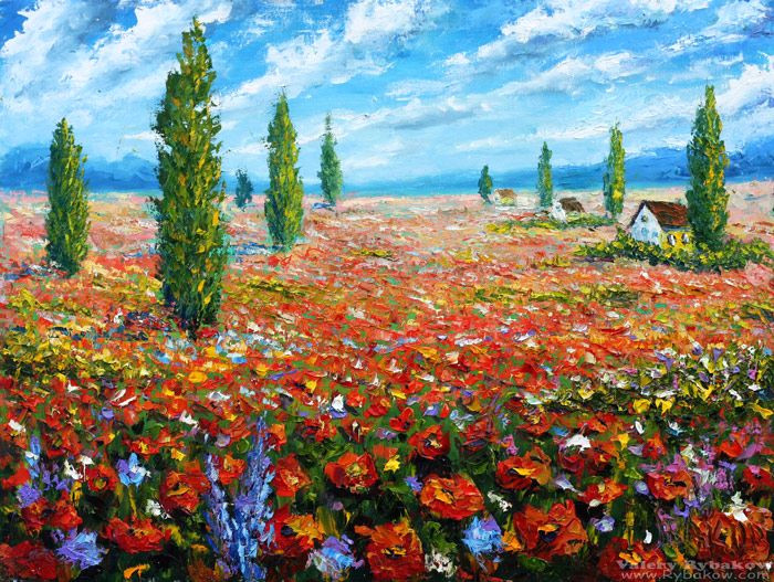 flowers oil painting the field of red poppies palette knife