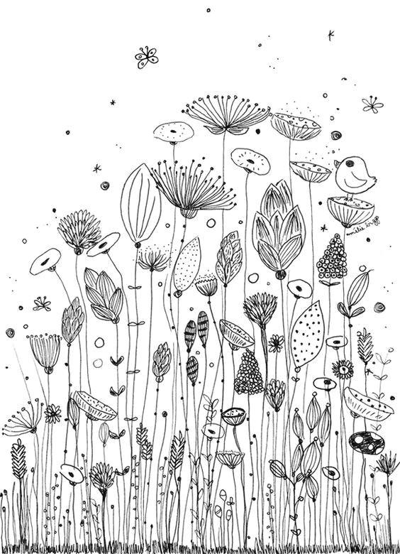 ameliebiggs fleurs coloriage doodle flowers floral doodle draw flowers art floral flower doodles