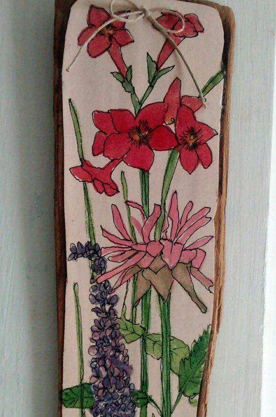 pink flower watercolor illustration on wood drawing botanical garden ready to hang housewarmng