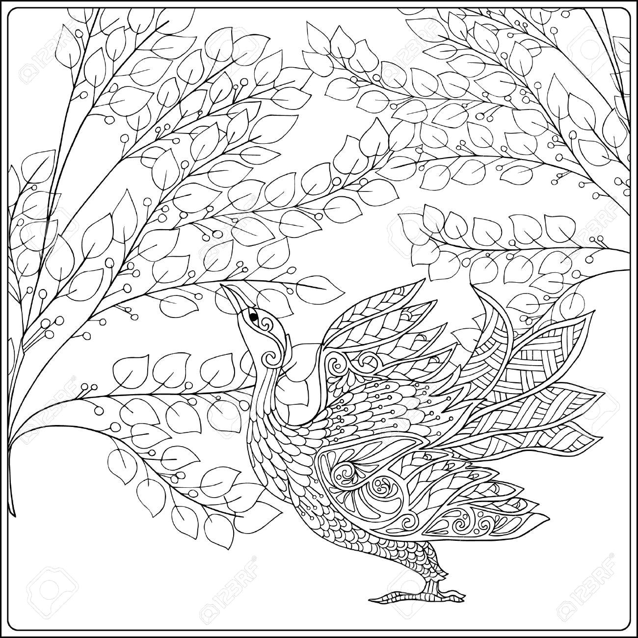 decorative flowers and bird coloring book for adult and older children coloring page