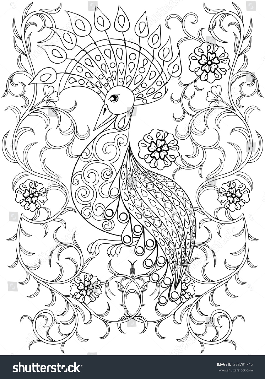 coloring page with bird in flowers zentangle illustartion bird for adult coloring books or tattoos