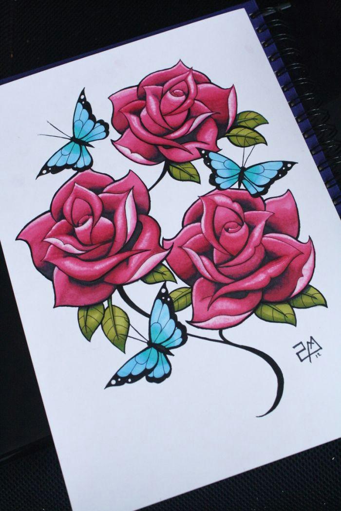 exemple de dessin fleur couleur joli dessin de roses rouges aux feuilles vertes avec papillons bleus moda le de dessin de fleur